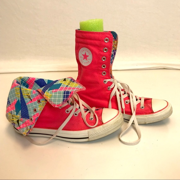 Converse   hot pink extended high top sneakers 10